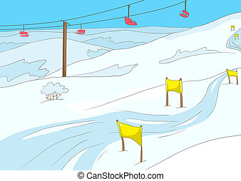 Ski Resort. Cartoon Background. Vector Illustration EPS 10.
