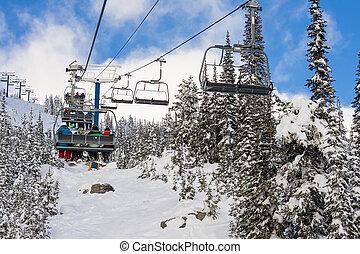 Ski Resort Chairlift in Winter