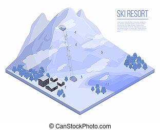 Ski resort concept background, isometric style