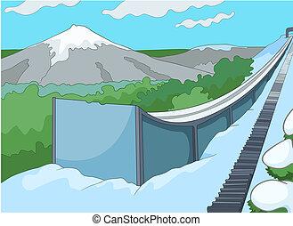 ski, resort., dessin animé, fond