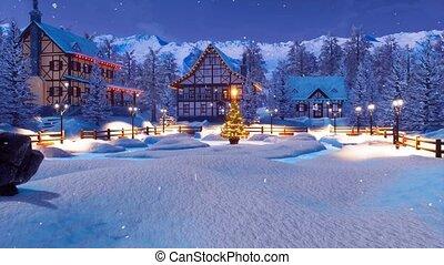 Ski resort in alpine village at Christmas night 4K -...