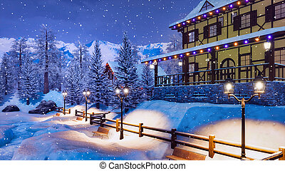 Ski resort in alpine village at snowy winter night