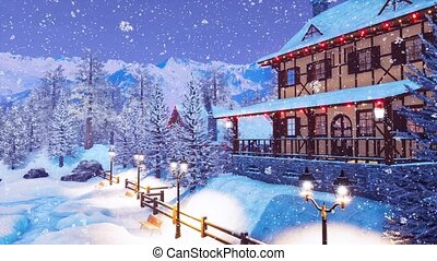 Ski resort in alpine village at snowy winter night