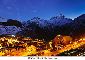 Ski resort in French Alps at night