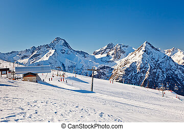 Ski resort in French Alps - Slopes of ski resort in French...