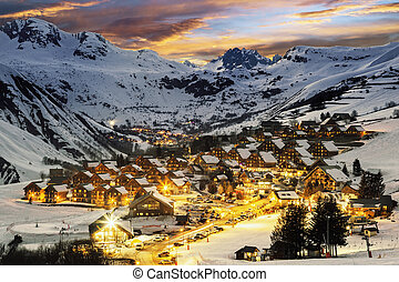 Ski resort in French Alps,Saint jean d'Arves - Evening...