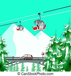 Ski resort in mountains with cable cars, bridge and coniferous trees
