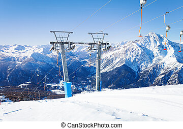 Ski resort in the midst of beautiful mountains