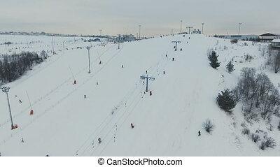 Ski resort in the winter season. Aerial view.