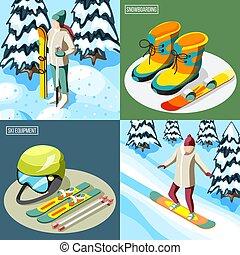 Ski Resort Isometric Design Concept