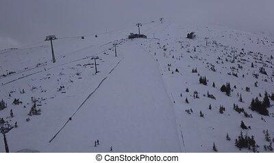 ski resort Jasna Slovakia mountain Low Tatras aerial drone...