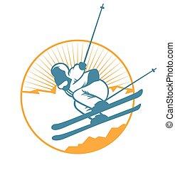 Ski resort logo emblems, labels badges vector elements. ...