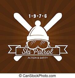 Ski Resort Logo - Vintage skiing resort or mountain patrol...