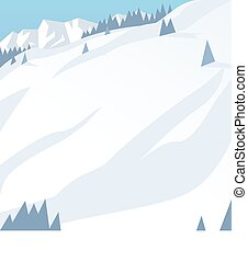 Ski resort mountains, tracks, building winter season...