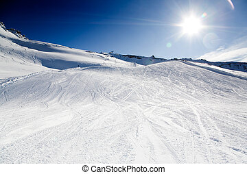 Ski resort on beautiful sunny day with blue sky