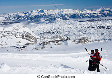 Ski resort  Ramsau. Glacier Dachstein. Austria