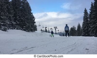 Ski resort scene. Nice sunny day.