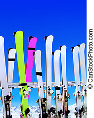 ski resort - skis on snow covered place in winter with...