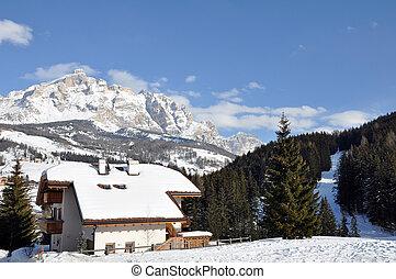 Ski Resort - Ski resort during the wintertime, the Alps,...