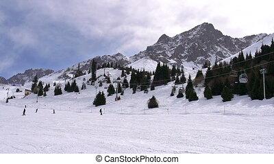 Ski Resort - Time-laps picturesque ski resort in Central...