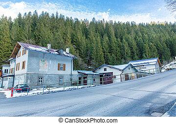 Ski resort town Bad Gastein in winter snowy mountains,...