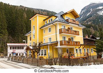 Ski resort town Bad Gastein in winter snowy mountains, Austria, Land Salzburg