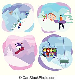 Ski resort vector active people characters skiing, snowboarding on slopes. Illustration set of extreme man, woman lifting together on winter vacation isolated on white background