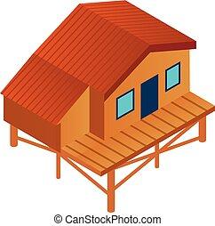 Ski resort wood cabin icon, isometric style