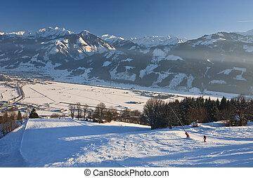 Ski resort Zell am See,  Austria. Alps at winter