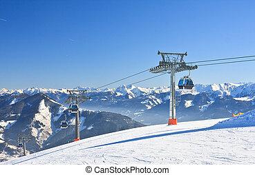 Ski resort Zell am See, Austrian Alps at winter