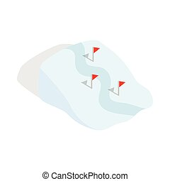 Ski route icon in isometric 3d style
