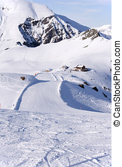 Ski run and hut in Alps - Zillertal Alps in Austria, ski...