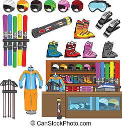 ski shop and equipment tools vector