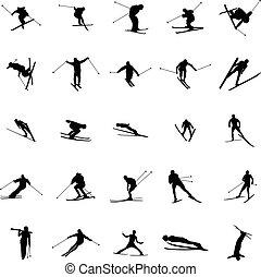 Ski silhouette set