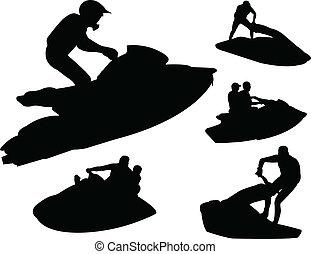 ski, silhouettes, vecteur, -, jet