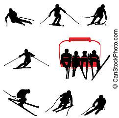ski, silhuetter, samling