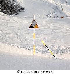 Ski slope at evening after snowfall - Snowy ski slope at...