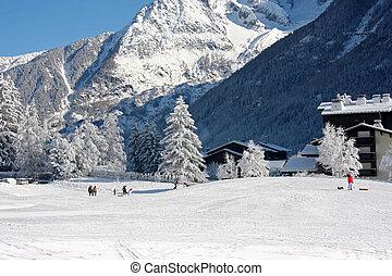 Ski slope at the winter mountain resort Chamonix