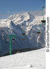 Ski slope - Empty ski slope and chair lift