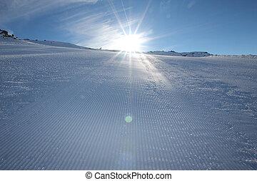 Ski slope - Empty ski slope in the Austrian Alps