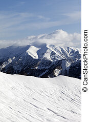 Ski slope for freeride. Caucasus Mountains, Georgia, ski resort Gudauri