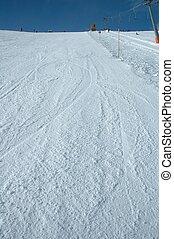 Ski slope in Austria nearby Kaltenbach in Zillertal valley