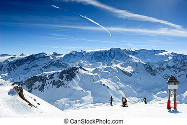 Ski slope in Meribel Valley, French Alps