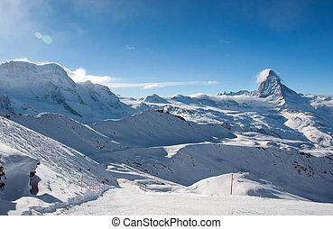 Ski slope in swiss Alps  - Ski slope in swiss Alps, Zermatt