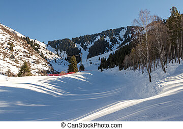 ski slope in the mountains of Tien Shan