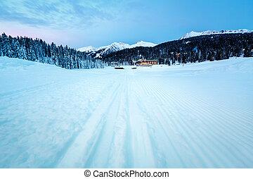 Ski Slope near Madonna di Campiglio Ski Resort in the Morning, Italian Alps, Italy