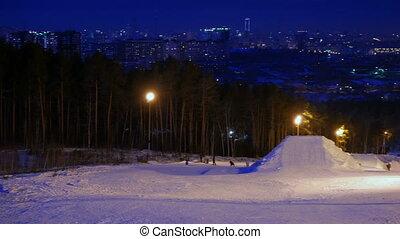 Ski slope. Night. Russia, Ekaterinburg. UltraHD (4K)