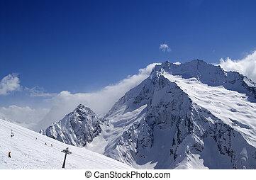 Ski slope. Ski resort Dombay, Caucasus Mountains.