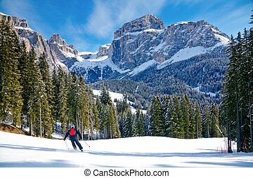 Ski slope - Skier going down the slope at Val Di Fassa ski...