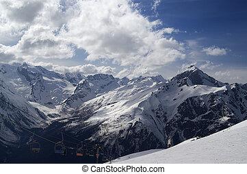Ski slope. Winter resort Dombay, Caucasus Mountains.